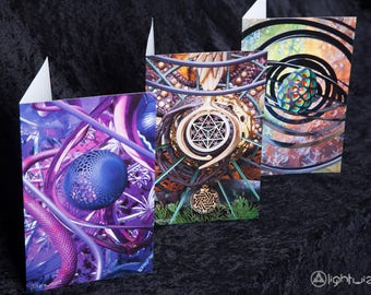 LIGHT WIZARD - Greeting Card - Artwork - Set of 3 - Visionary Art - Sacred - Spiritual - Shamanic - Psychedelic - Holiday Card - 3pack - Art