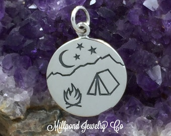Camping Charm, Campfire Scene Charm, Campground Charm, Outdoors Charm, Nature Charm, Sterling Silver, PS01439
