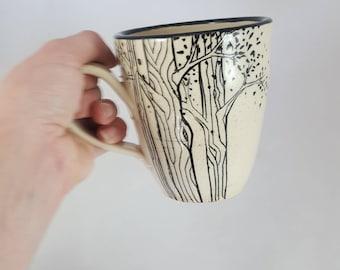 AVAILABLE NOW! Tree mug, ceramic mug, tree cup, carved tree mug