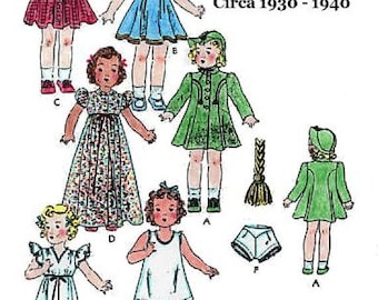 "Vintage Circa 1930 - 1940's 12"" Shirley Temple Doll Wardrobe Pattern"
