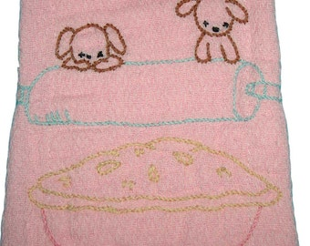 Puppies Baby Burp Rag, Burping Cloth, Baby Burp Cloth, Pink, Puppies and Pie, Burping Cloth, Burp Rag