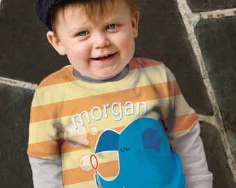 Elephant Shirt, Personalized Boy's Blue Elephant Blowing Bubbles Striped T-shirt, Childrens Clothing