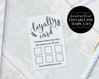 Loyalty Card Templates, INSTANT DOWNLOAD, Editable PDF, Business Printables, Printable Loyalty Cards, Business Card Templates, In 2 Sizes