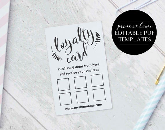 Loyalty Card Templates INSTANT DOWNLOAD Editable PDF - Loyalty card template
