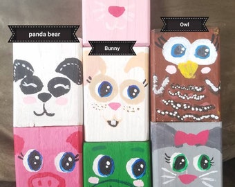 Hand painted baby animals/ frog/pig/Mouse/Cat/Owl/Panda bear/Bunny/Wood block/ For kids/Building blocks /wooden blocks/homemade toys