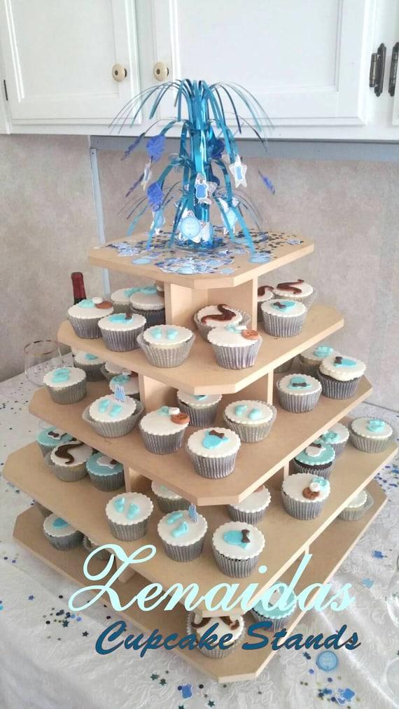Cupcake Stand 5 Tier Square MDF Wood 100 Cupcake Tower Display