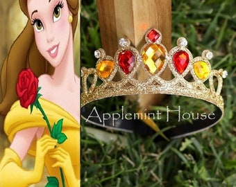 Belle Crown, Princess Belle  costume Crown, Birthday Belle, The Beauty And The Beast Belle Crown, Belle Tiara, Belle Birthday Crown, gold