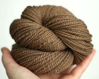 "Handspun Yarn - ""Dormouse"" - Light Brown Yarn - Merino Wool Yarn - Worsted Weight Yarn - Felicity Yarn"
