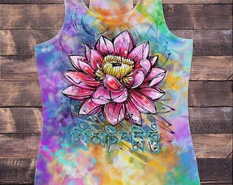 Womens Vest Top, Beautiful Lotus Tropical Floral Zen Ethical Print SUB837