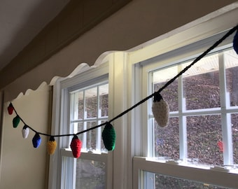 Crochet Christmas Light Garland - holiday decor