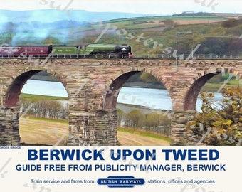 Vintage Style Railway Poster Berwick upon Tweed Royal Border Bridge  A3/A2 Print