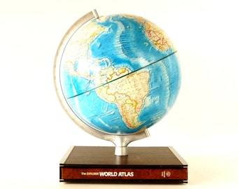 """Vintage Rand McNally International World Globe with Blue Oceans and Hardcover Atlas in Stand, 12"""" diameter (c.1978) - Collectible"""