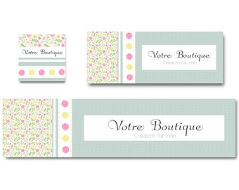 Banner liberty shabby chic pink and yellow flowers, banner shop personnaliable