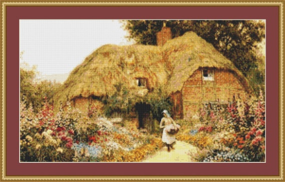 Woman Before A Cottage Cross Stitch Pattern /Digital PDF Files /Instant downloadable
