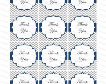 Boy Thank You Tags - gray, blue (06) Instant Download