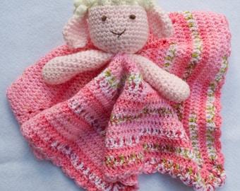 Lamb Lovey - CROCHET PATTERN instant download - blankie, blankey,  security blanket