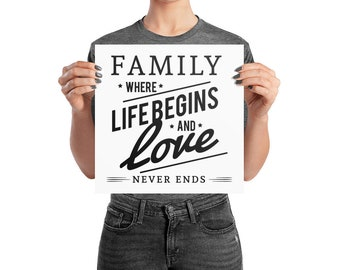 Family where life begins and love never ends, wall art, inspirational quote, wall decor, inspirational art