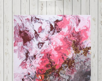 Artwork painting-Pink, bordaux, gold-abstract