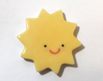 sun/sun magnet/porcelain sun/porcelain magnet/smiling sun/refrigerator magnet/sun with smile/magnet with smile/unique magnet/sunshine gift
