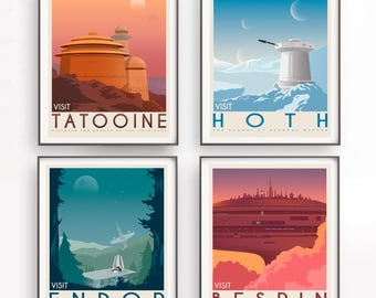 Star Wars set of 4 travel poster. Star Wars planet Poster. Movie poster. Darth Vader. Star Wars decor. A new hope. Return of the jedi