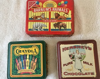 Lot of 3 Vintage Advertising Tins  / 1980s and 1990s /  Colorful Organizers / Farmhouse Decor / Storage Containers / Instant Collection