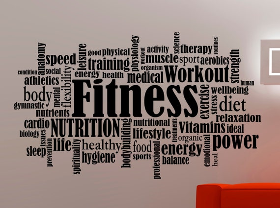 Fitness Wall Decal Gym Stickers Words Sports Art