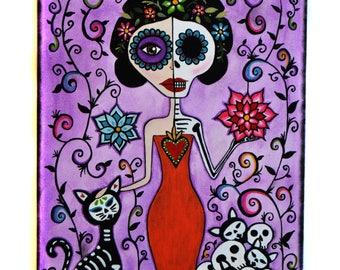 Day of the dead - Dia de los Muertos - Cat Art - Acrylic Painting