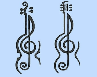 treble clef guitar and violin- 2 machine embroidery designs  Instant Download