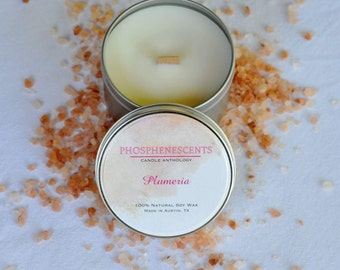 Plumeria Scented 6.5 oz. Wood Wick Soy Candle Tin