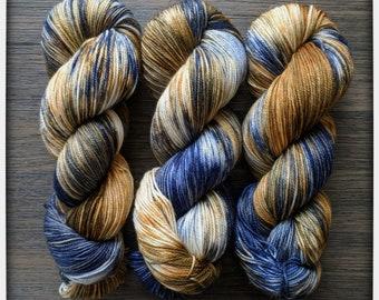 Hand Dyed Yarn - 'Wit Beyond Measure' - Superwash Merino Nylon Fingering Sock Yarn charcoal, grey, black 420 yards