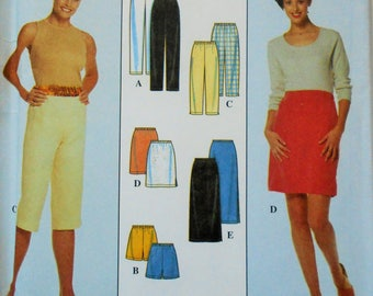 Simplicity Sewing Pattern 8740 Misses Pants, Skirts, Shorts and Capris in Size 6-16. Elastic Waist Pants, Misses Capris, Pull On Pants