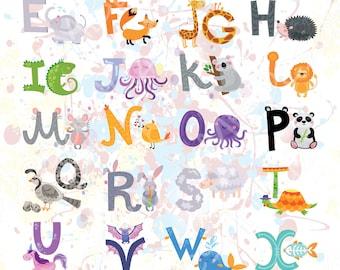 Animal Nursery Art, Animal Alphabet Art, Illustrated Alphabet, Illustrated Letters, Printable Alphabet, Nursery Wall Art, Kids alphabet ABC