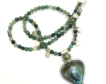 Shades of Green, Labradorite, Turquoise and Moss Agate, Handmade Sterling Silver Pendant Necklace