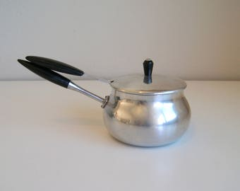 Sleek Vintage Aluminum Pot with Matching Ladle by Puralum, Italy