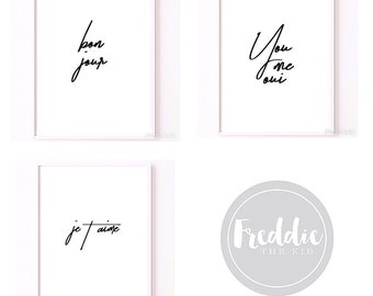 French hand-scripted typographic quote print collection