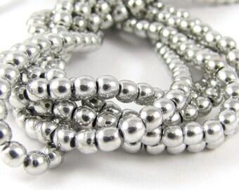 Metallic Silver 3mm Smooth Round Czech Glass  Beads 100pc #1654