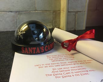 Santa Cam, North Pole Flashing CCTV, Elf Watch. Personalised Letter & Box. Great pre-Christmas Gift, Nice or Naughty List FREE BATTERIES