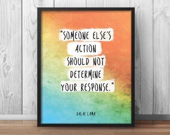 Someone else's action Quote Poster Dalai Lama Quote Print Buddhist Wisdom Watercolor Buddhism Print - 060