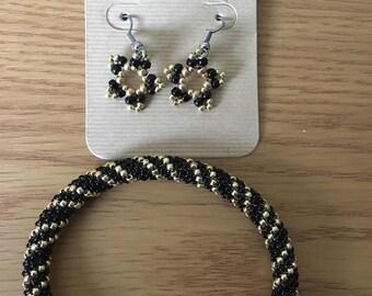Tubular Peyote Stitch Open Bangle Bracelet and Earring Set