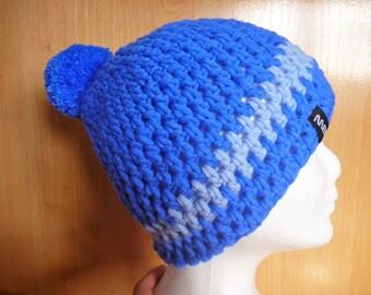 Bommelmütze Hat bobble hat winter hat blue handmade Surfermütze skater Chrocheted hat PomPom blue size L