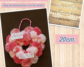 Heart Shaped Pom Pom Wreath