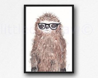 Geek Sloth Wall Art Print Watercolor Painting Print  Bedroom Wall Decor Sloth Lover Gift Sloth Wearing Glasses Home Decor Nerd Sloth