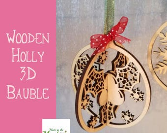 Christmas tree bauble, wooden 3D holly design hanging decoration