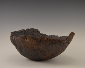 Sculptural stoneware bowl, decorative ceramic bowl, pottery bowl with oxides