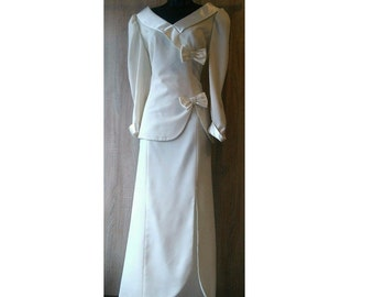 Vintage 1940's 2 Piece Wedding Outfit, Alfred Angelo Designer Bridal Outfit, Vintage Bridal Suit, Forest, Fairytale, 40's Wedding Suit