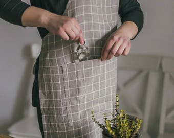 Linen kitchen apron - woman apron - gray apron - linen apron - chef apron - full apron - apron with pockets - long apron - washed linen