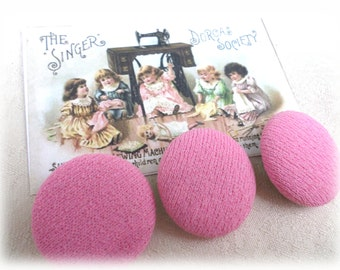 3 BIG Pink Cloth Covered Vintage Buttons from Muscatine, Iowa for Sewing, Crafts, Scrapbooking, Cardmaking, Jewelry