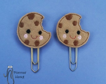 Cookie paper clip / planner clip / bookmark, kawaii style cookie, bookmark, cookie paperclip, cute cookie feltie paperclip, cookie with bite