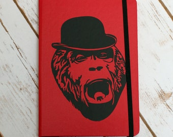 Fancy Hat Gorilla - Notebook - 60 pages - B6 - Funny Notebook - Gift under 15 - Bowler Hat - Gorilla - Gorilla Art - Gift for Him - Animal