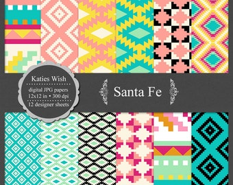 Santa Fe Aztec Tribal digital paper kit small commercial use jpg backgrounds for invitations, scrapbooking, cardmaking, crafts
